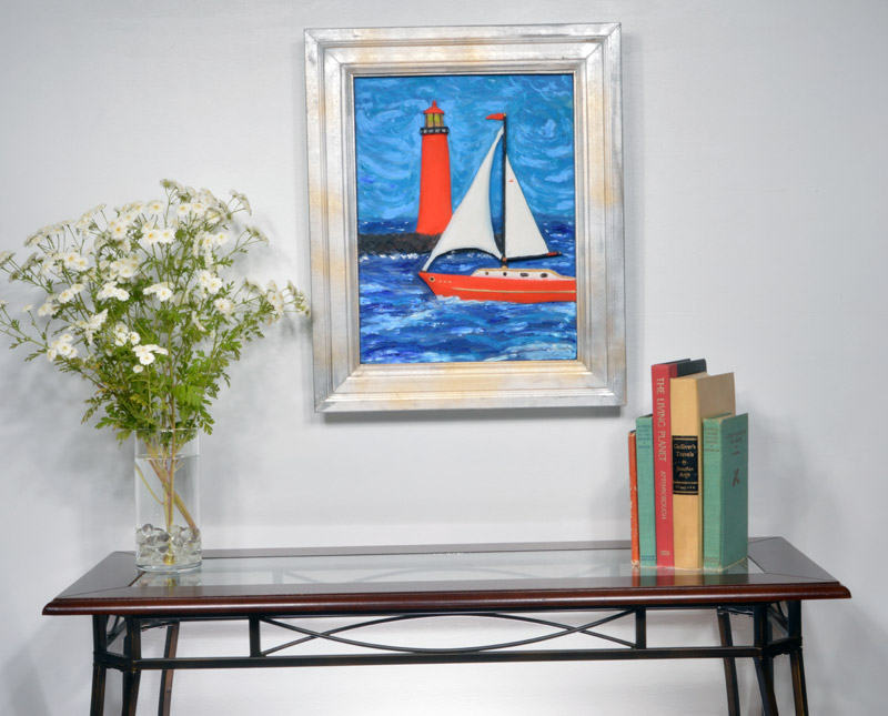 Red Sailboat and Red Lighthouse